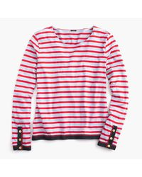 J.Crew | Red Grosgrain Ribbon Striped T-shirt With Nautical Buttons | Lyst