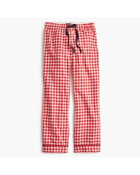 J.Crew | Red Tall Gingham Flannel Pajama Pant | Lyst