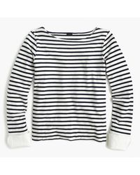 J.Crew | Blue Striped Boatneck T-shirt With Built-in Cuffs | Lyst