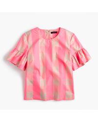 J.Crew | Pink Petite Ruffle-sleeve Top In Neon Buffalo Check | Lyst