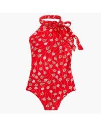 J.Crew | Red Halter Bow-tie One-piece Swimsuit In Falling Floral Print | Lyst
