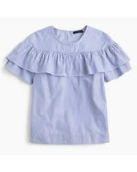 J.Crew | Blue Edie Top In Shirting Stripe | Lyst
