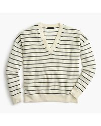 J.Crew | Blue Striped V-neck Sweater In Merino Wool-cotton | Lyst