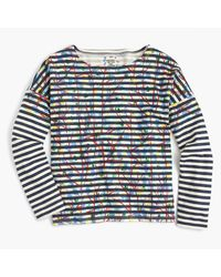 J.Crew | Blue Michael De Feo Striped T-shirt With Painted Flowers | Lyst