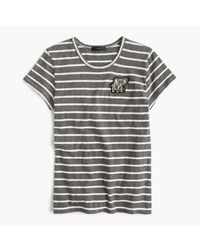 J.Crew | Blue Striped Painter T-shirt With Embellished Patch | Lyst