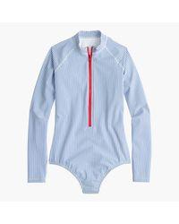 J.Crew | Blue Long-sleeve One-piece Swimsuit In Seersucker | Lyst