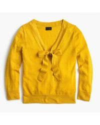 J.Crew - Yellow Tie-neck Sweater In Italian Featherweight Cashmere - Lyst