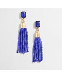 J.Crew - Blue Beaded Tassel Earrings - Lyst