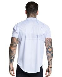 Siksilk - White Marble Zip Neck Baseball T-shirt for Men - Lyst