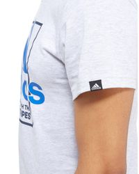 Adidas - Gray Box Logo T-shirt for Men - Lyst