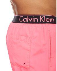 Calvin Klein - Pink Waistband Swim Shorts for Men - Lyst