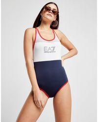EA7 - Blue Panel Swimsuit - Lyst