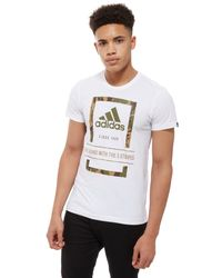 Adidas - White Camo Box T-shirt for Men - Lyst