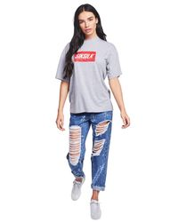Siksilk - Blue Rip Mom Jeans - Lyst