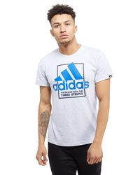Adidas - Gray Box Logo T-shirt for Men - Lyst