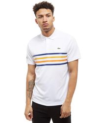 Lacoste White Central 4 Lines Polo Shirt for men