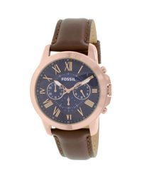 Fossil | Multicolor Fs5068 Grant Leather Watch for Men | Lyst