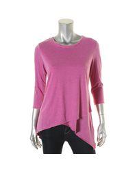 Calvin Klein - Purple Womens Jersey Asymmetric Casual Top - Lyst