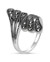 Swarovski - Metallic Marcasite Sterling Silver Oxidized Bypass Ring - Lyst