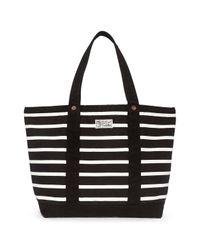 Lyst - Polo Ralph Lauren Womens Canvas Striped Tote Handbag in Black b63b6fca513a0