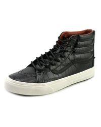 217aacd147 Lyst - Vans Sk8-hi Slim Zip Round Toe Leather Sneakers in Black for Men