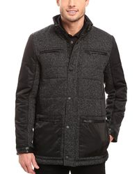 CALVIN KLEIN 205W39NYC - Mixed-media Quilted Pea Coat Small S Black & Grey Jacket for Men - Lyst