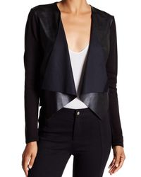 CALVIN KLEIN 205W39NYC - Multicolor Pleather Cascade Open-front Knit Cardigan (l - Lyst