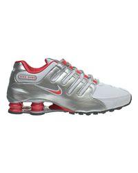 detailed look 39200 570be Lyst - Nike Shox Nz Running Shoe-white ember Glow metallic Silver ...