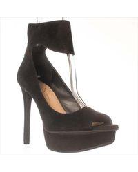 Jessica Simpson - Black Crusherr Open Toe Suede Platform Heel - Lyst