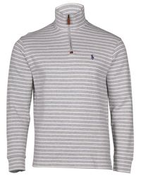 Polo Ralph Lauren | Gray 1/2 Zip Striped Knit Sweater-andover Heather-xl for Men | Lyst