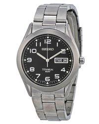 Seiko - Metallic Sgg711 Titanium Black Dial Day Date Casual Analog Watch for Men - Lyst