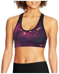 Champion - Purple Womens Striped Absolute Sports Bra - Lyst
