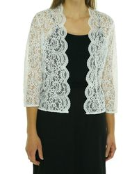 Calvin Klein - Multicolor White Size Medium M Lace Scallop Shrug Jacket - Lyst