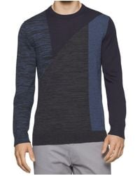 Calvin Klein - Roma Blue Mens 2xl Colorblock Crewneck Wool Sweater for Men - Lyst