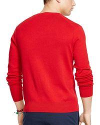 Polo Ralph Lauren - Red Pima V-neck Sweater for Men - Lyst