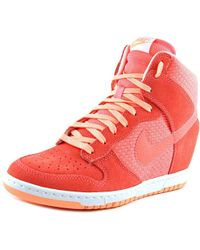 Nike | Pink Dunk Sky Hi Essential Women Round Toe Suede Sneakers | Lyst