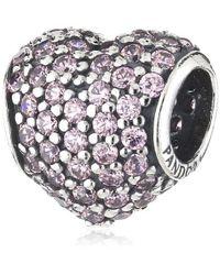 Pandora - Bead Pave' Heart Pink 791052pcz - Lyst