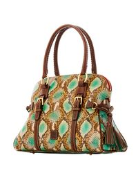 Dooney & Bourke - Green City Python Domed Buckle Satchel - Lyst
