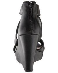 Jessica Simpson - Black Jadyn Leather Peep Toe Casual Platform Sandals - Lyst