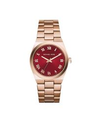 Michael Kors - Multicolor Channing Mk6090 Rose Gold/red Analog Quartz Watch - Lyst