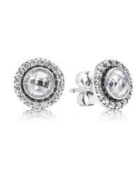 Pandora | Metallic Statement Sparkling Stud Earrings | Lyst