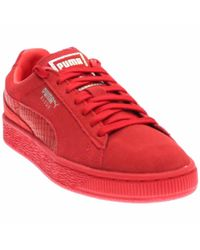PUMA - Red Suede Classic Mono Reptile High Risk Silver Lace Up Sneakers - Lyst