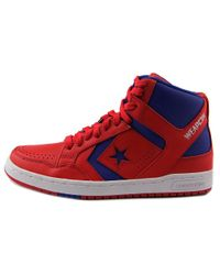 Converse - Red Weapon Mid Round Toe Leather Sneakers for Men - Lyst