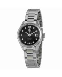 Tag Heuer - Metallic Carrera Automatic Black Dial Stainless Steel Ladies Watch War2413.ba0776 - Lyst