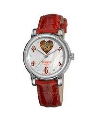 Tissot - T-classic White Mother Of Pearl Dial Red Leather Ladies Heart Watch T050.207.16.116.02 - Lyst