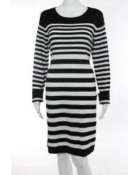 Calvin Klein   Black White Cotton Blend Striped Long Sleeve Knit Dress Size Xl New   Lyst