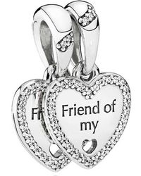 Pandora - Metallic Hearts Of Friendship Pendant Charm - Lyst
