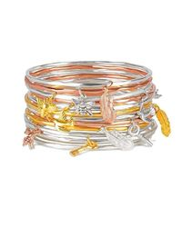 Lily Blanche - Metallic Feather Bangle Rose Gold - Lyst