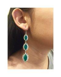 Meghna Jewels - Triple Drop Earrings With Green Onyx - Lyst
