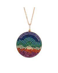 Cosanuova - Multicolor Rainbow Disc Necklace - Lyst